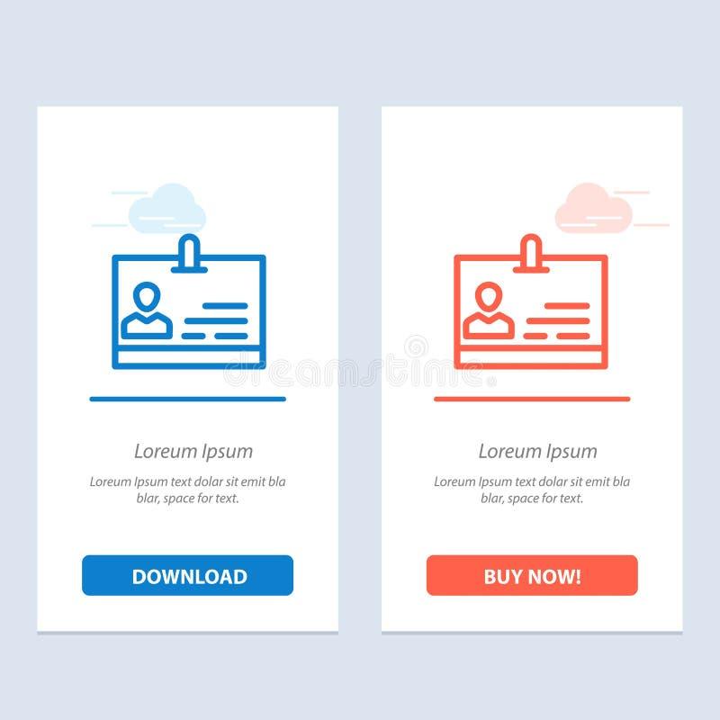 Identificación, tarjeta, identidad, azul de la insignia y transferencia directa roja y ahora comprar la plantilla de la tarjeta d ilustración del vector
