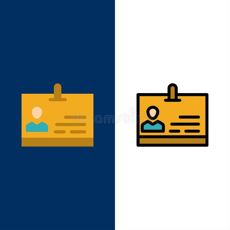 Identificación, tarjeta, identidad, iconos de la insignia El plano y la línea icono llenado fijaron el fondo azul del vector ilustración del vector