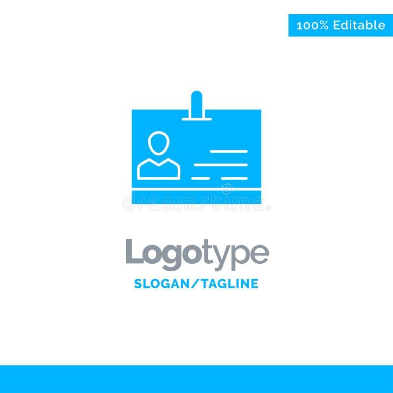 Identificación, tarjeta, identidad, insignia Logo Template sólido azul Lugar para el Tagline stock de ilustración