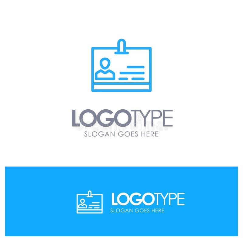 Identificación, tarjeta, identidad, logotipo azul del esquema de la insignia con el lugar para el tagline stock de ilustración