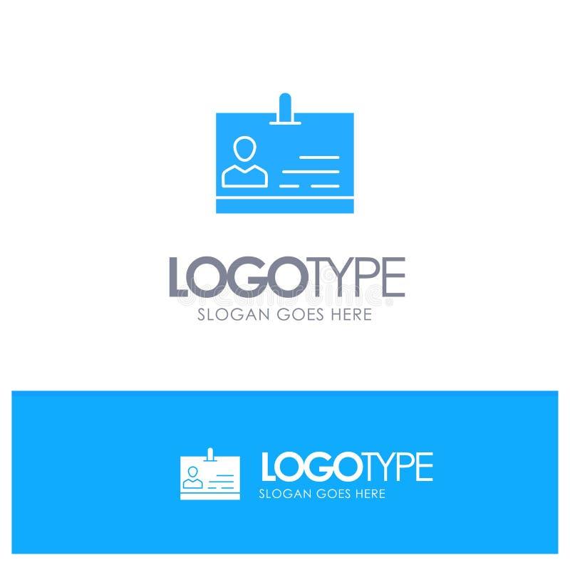 Identificación, tarjeta, identidad, logotipo sólido azul de la insignia con el lugar para el tagline ilustración del vector