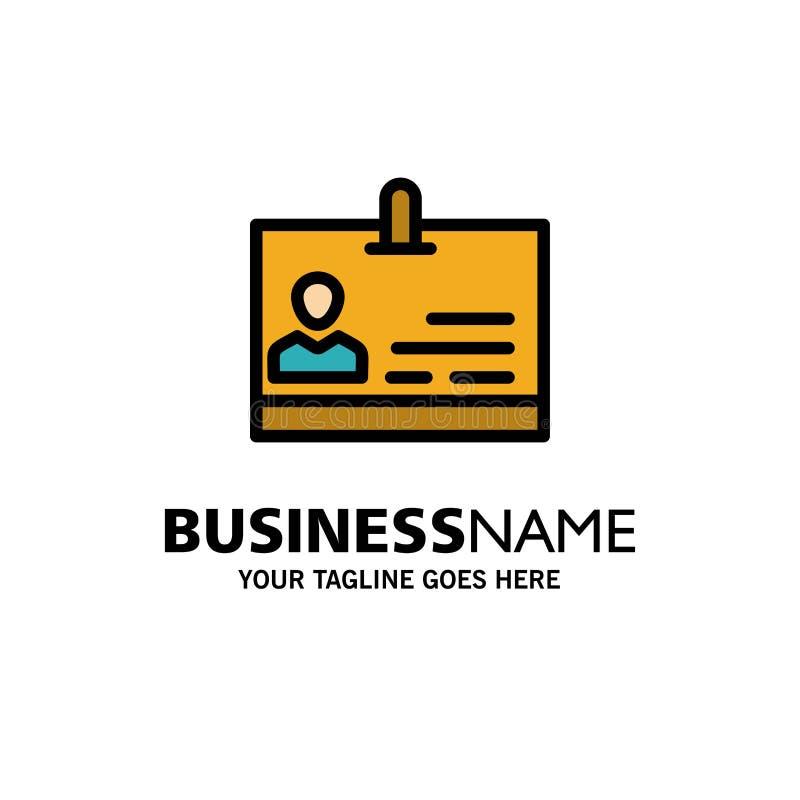 Identificación, tarjeta, identidad, negocio Logo Template de la insignia color plano libre illustration