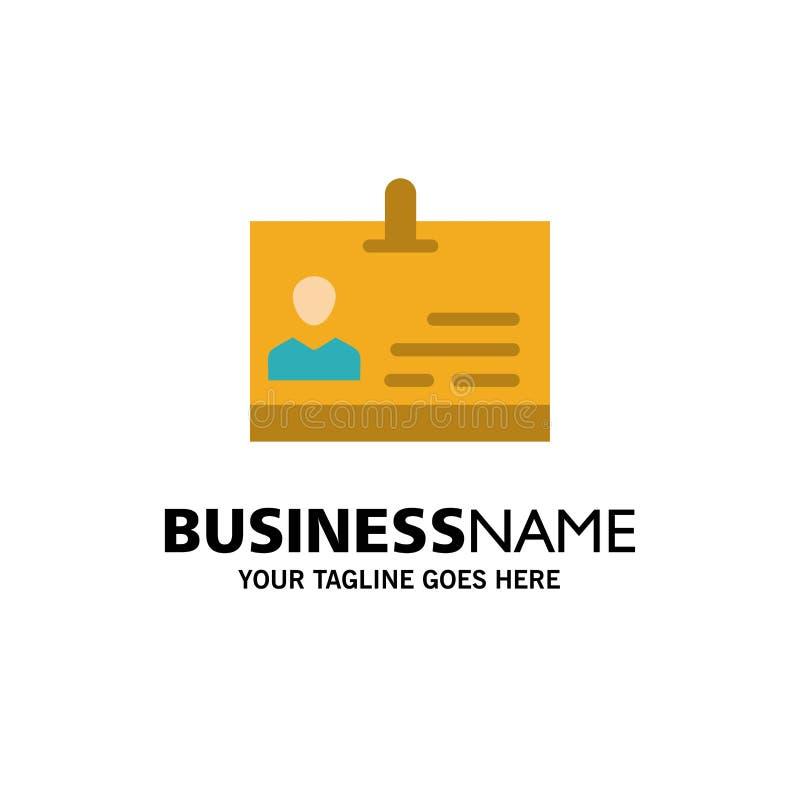 Identificación, tarjeta, identidad, negocio Logo Template de la insignia color plano stock de ilustración
