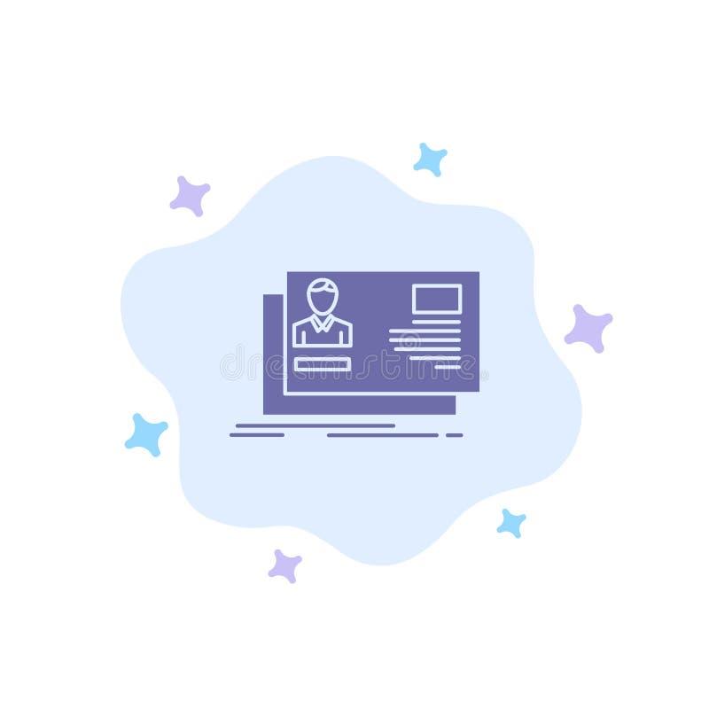 Identificación, usuario, identidad, tarjeta, icono azul de la invitación en fondo abstracto de la nube ilustración del vector