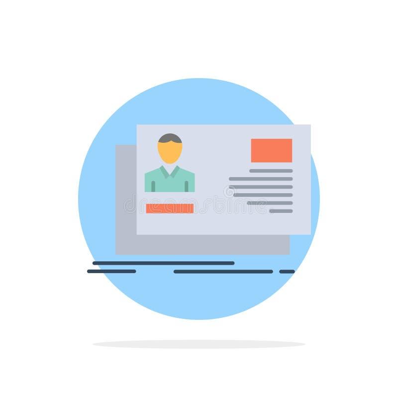 Identificación, usuario, identidad, tarjeta, icono plano del color de fondo del círculo del extracto de la invitación ilustración del vector