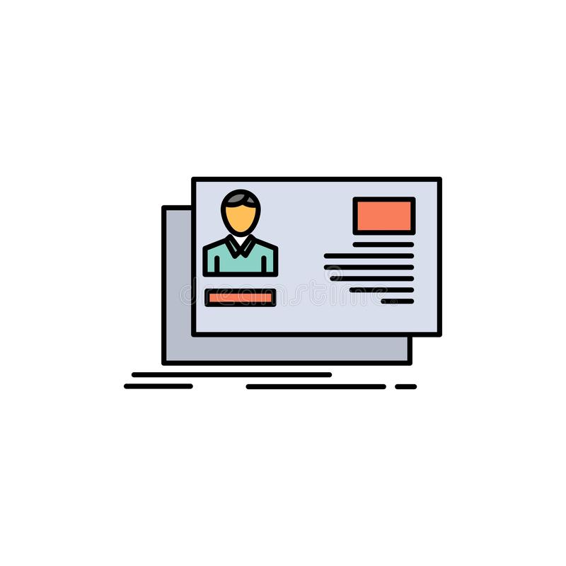 Identificación, usuario, identidad, tarjeta, icono plano del color de la invitación Plantilla de la bandera del icono del vector ilustración del vector