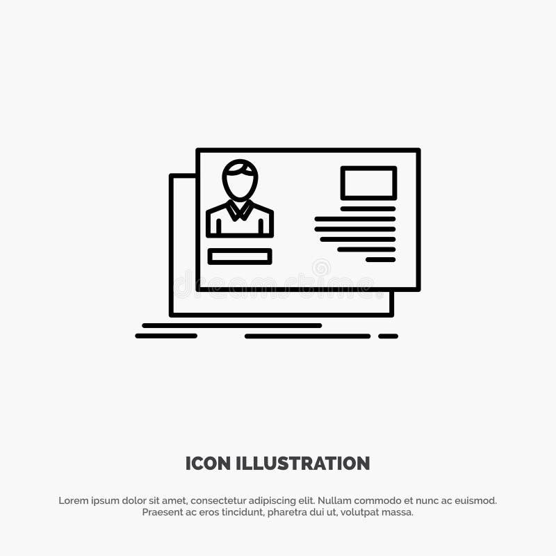 Identificación, usuario, identidad, tarjeta, línea vector de la invitación del icono stock de ilustración