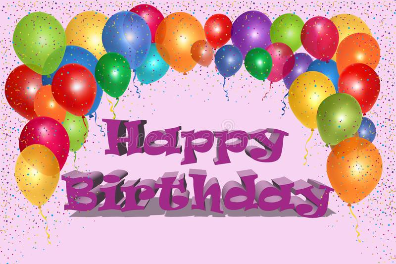 Identificar de feliz aniversario por meio de ballons 3D e confetes imagem de stock royalty free