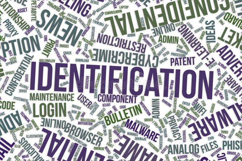 Identificatie, conceptuele woordwolk voor zaken, informatietechnologie of IT stock illustratie