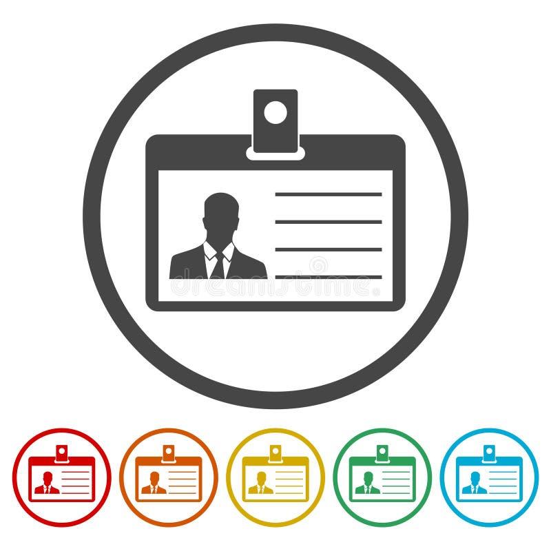 Identificatie van de bestuurders` s vergunning, identiteitskaart van het Perskenteken of de pictogrammen de geplaatste van de Ide vector illustratie