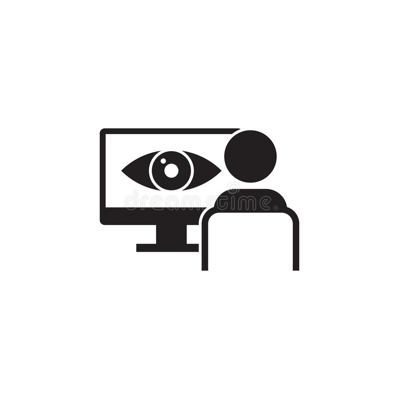 identificatie van het oog op het monitorpictogram Elementen van het pictogram van de cyberveiligheid Het grafische ontwerp van de vector illustratie
