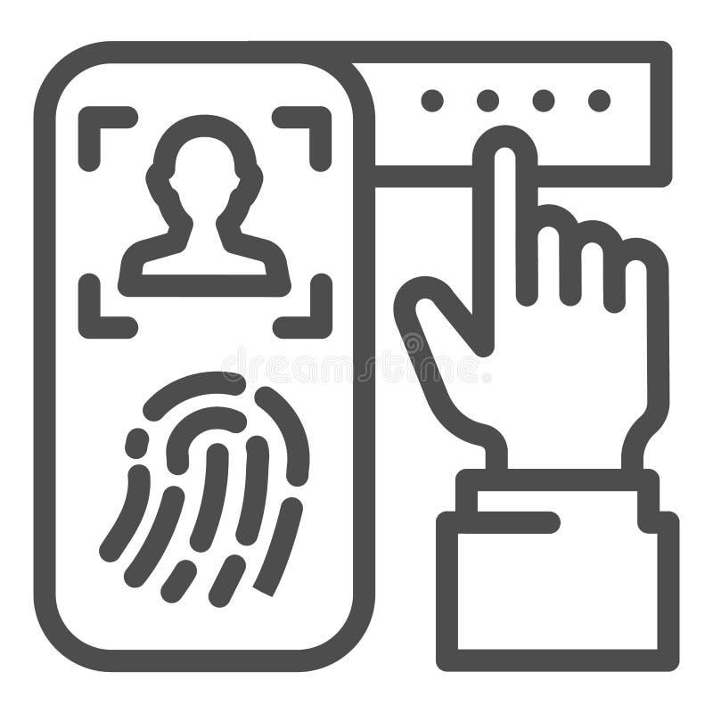 Identificatie van vingerafdruk op het pictogram van de smartphonelijn Het systeem van de controledruk op geïsoleerde telefoon vec vector illustratie