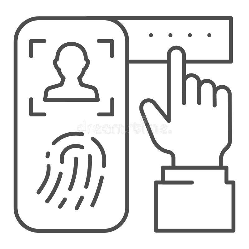 Identificatie van vingerafdruk op pictogram van de smartphone het dunne lijn Het systeem van de controledruk op telefoon vectoril vector illustratie