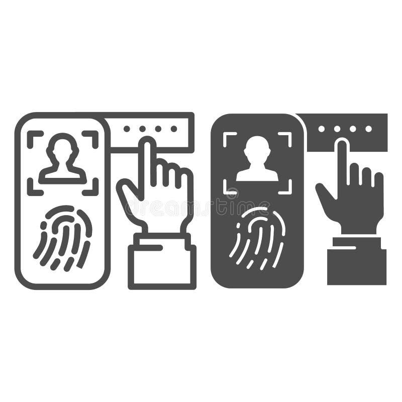 Identificatie van vingerafdruk op smartphonelijn en glyph pictogram Het systeem van de controledruk op telefoon vectorillustratie stock illustratie