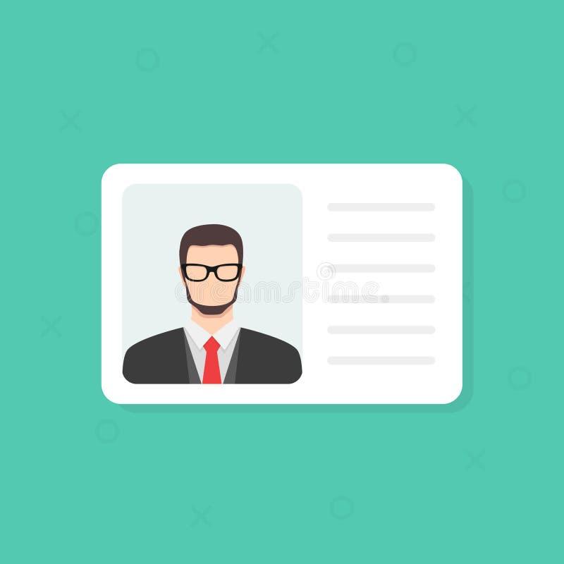 Identificatiekaart Persoonlijke informatiegegevens Identiteitsdocument met persoonsfoto en tekst clipart Vlak ontwerp, vector royalty-vrije illustratie