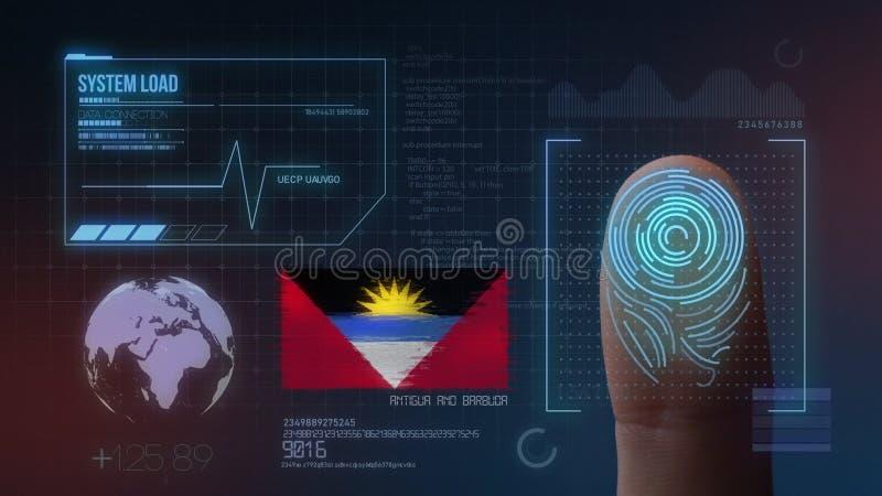 Identificatiesysteem van het vingerafdruk het Biometrische Aftasten Antigua en de Nationaliteit van Barbuda royalty-vrije stock foto