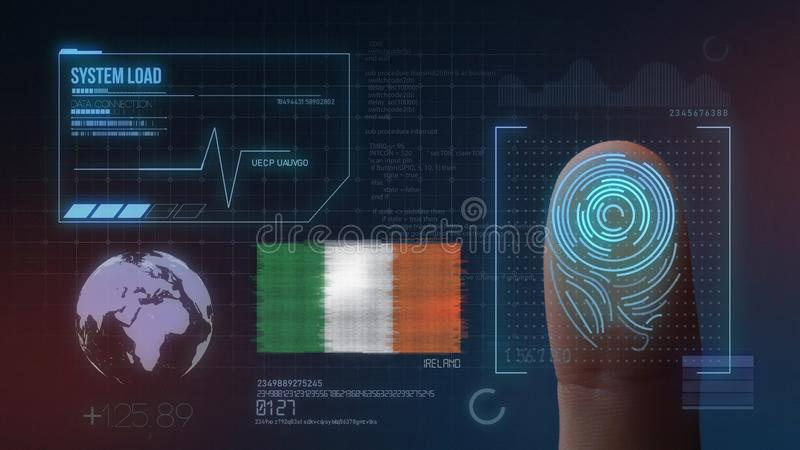 Identificatiesysteem van het vingerafdruk het Biometrische Aftasten De Nationaliteit van Ierland stock illustratie