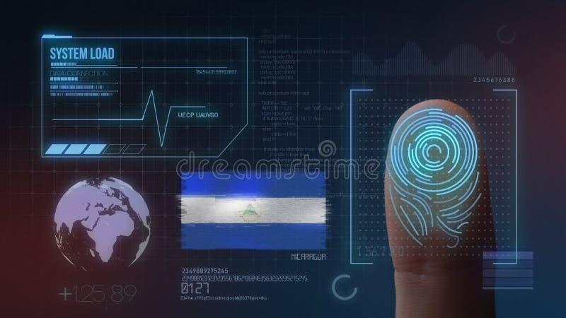 Identificatiesysteem van het vingerafdruk het Biometrische Aftasten De Nationaliteit van Nicaragua royalty-vrije stock afbeelding