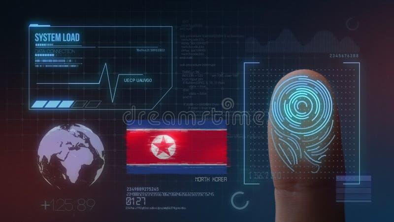 Identificatiesysteem van het vingerafdruk het Biometrische Aftasten De Nationaliteit van Noord-Korea royalty-vrije illustratie