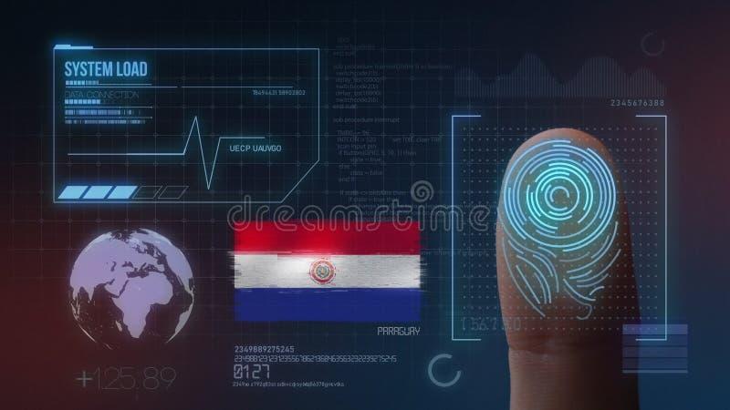 Identificatiesysteem van het vingerafdruk het Biometrische Aftasten De Nationaliteit van Paraguay royalty-vrije stock afbeeldingen