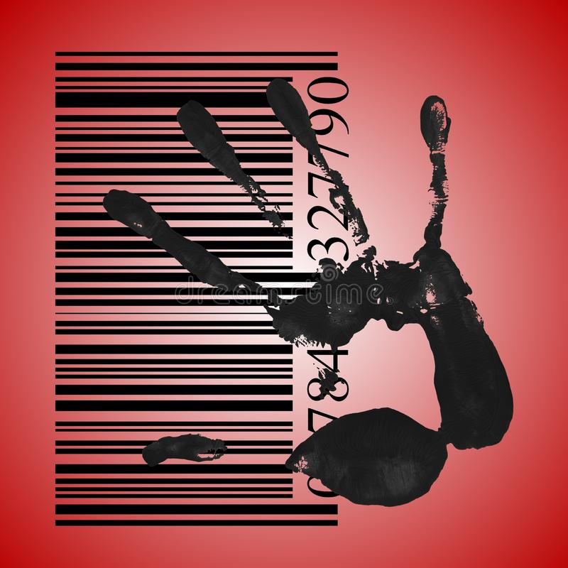Identification. Concept, a black handprint with barcode stock photos