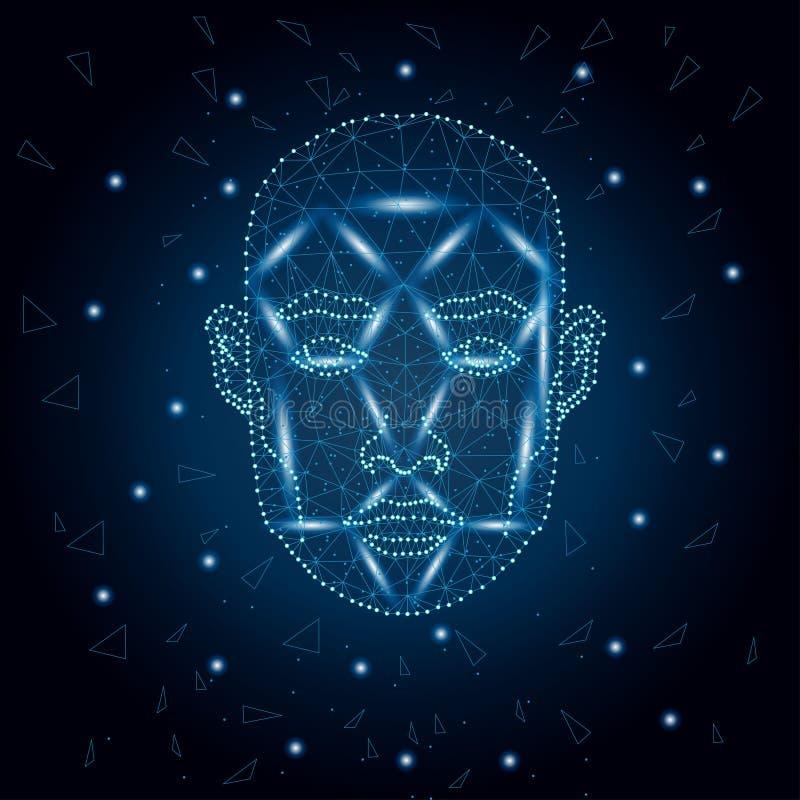 Identification biométrique, bleu 3 de visage d'homme illustration de vecteur