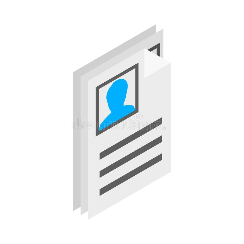 Identification card icon, isometric 3d style. Identification card icon in isometric 3d style on a white background royalty free illustration
