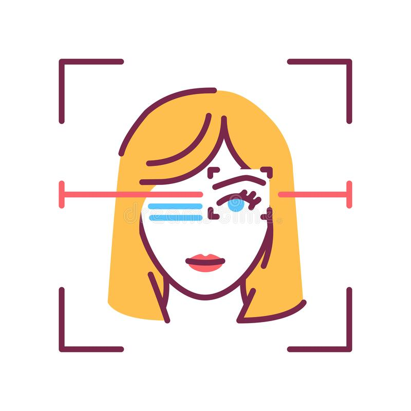Identification face color line icon. Eye ID verifying, recognition person concept. Biometric security element. Deep face stock illustration