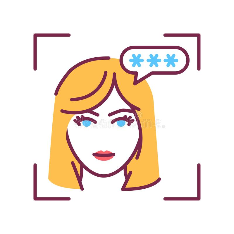 Identification face color line icon. Wrong combination. Password access. Invalid authentication. Biometric security element. Sign royalty free illustration