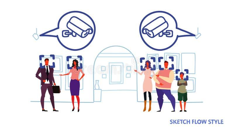 Identification faciale de concept de reconnaissance de télévision en circuit fermé de surveillance des visiteuses de personnes de illustration de vecteur