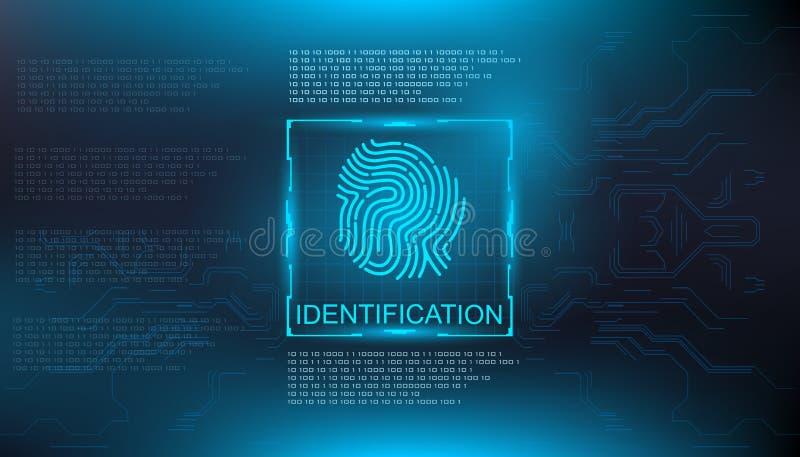 Identification, finger scan in futuristic style biometric id with futuristic hud interface fingerprint scanning. Finger scan in futuristic style biometric id stock illustration