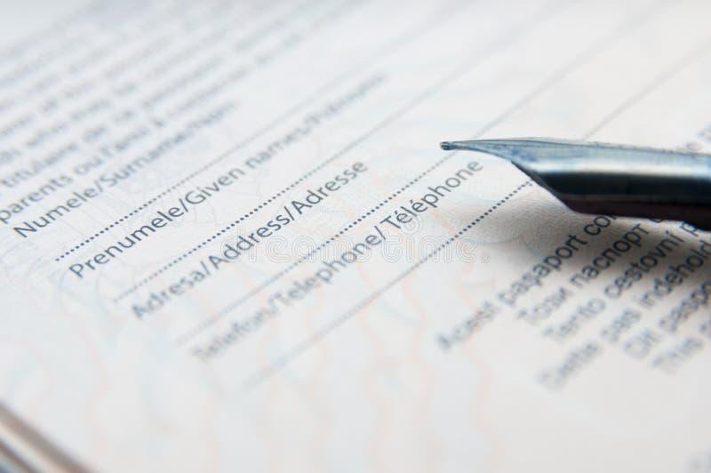 Identification form filling stock photo