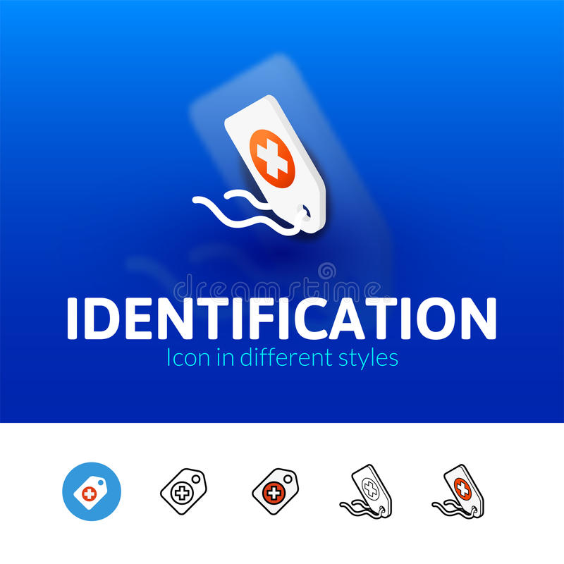 Identification icon in different style. Identification color icon, vector symbol in flat, outline and isometric style on blur background royalty free illustration