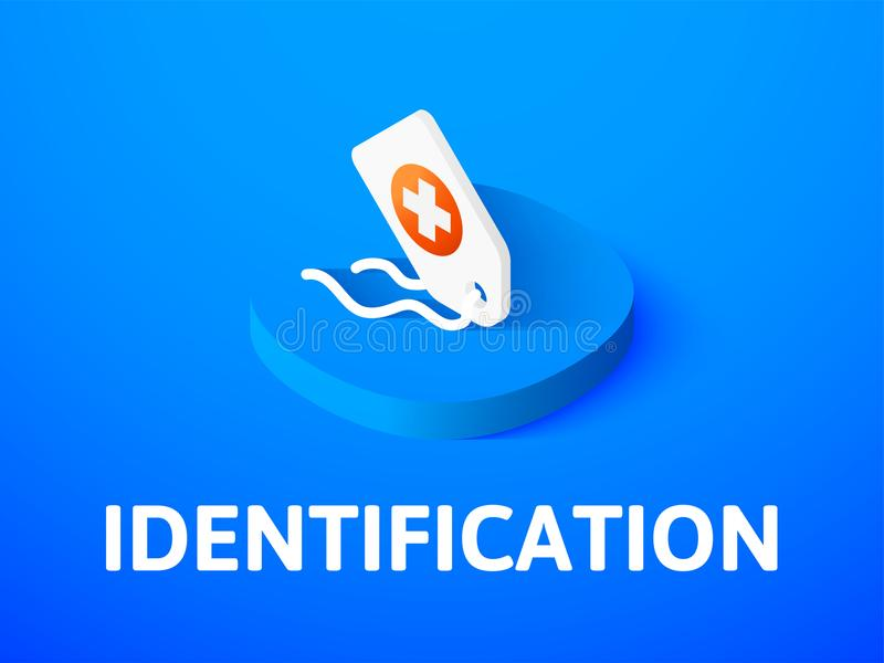 Identification isometric icon, isolated on color background. Identification icon, vector symbol in flat isometric style isolated on color background stock illustration