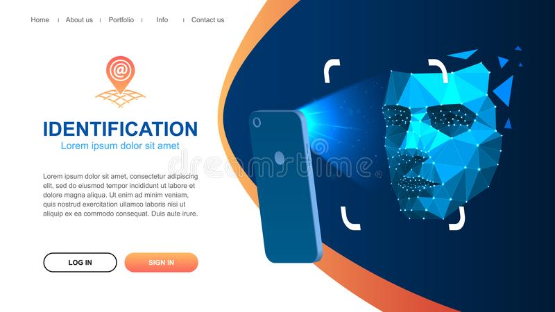 Identification of a person through the system of recognition of a human face. Website page layout. Identification of a person through the system of recognition stock illustration