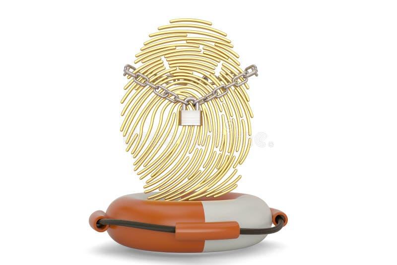 Identification protection concept lifebuoy and fingerprint isolated on white background 3D illustration.  royalty free illustration