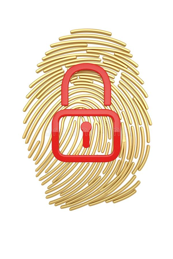 Identification protection concept lock and fingerprint isolated on white background 3D illustration.  royalty free illustration