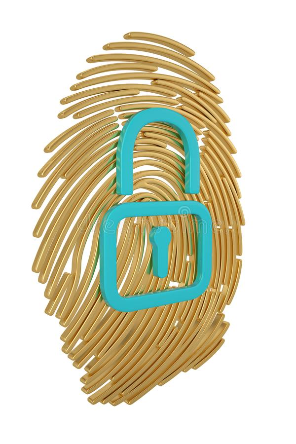 Identification protection concept lock and fingerprint isolated on white background 3D illustration.  stock illustration