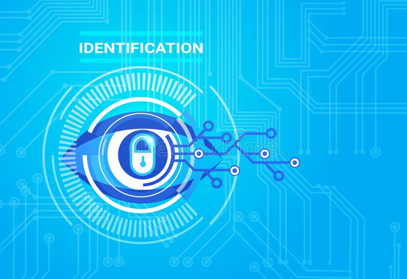 Identification System Retina Scanning Access Technology Protection And Security Concept. Vector Illustration vector illustration