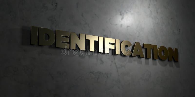 Identification - texte d'or sur le fond noir - photo courante gratuite de redevance rendue par 3D illustration libre de droits