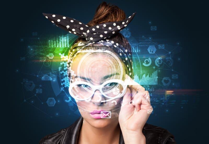 Identificazione biometrica e riconoscimento facciale fotografia stock libera da diritti