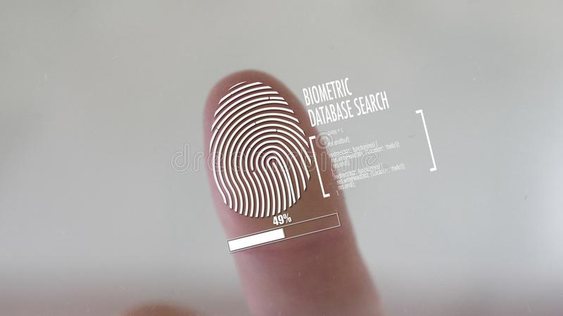Identificazione di FingerFingerprint che scaning per l'accesso con una fine sulla vista del fingert immagini stock libere da diritti