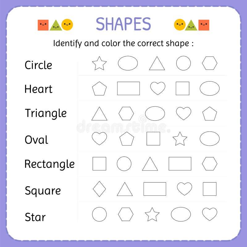 Identificeer en kleur de correcte vorm Leer vormen en geometrische cijfers Kleuterschool of kleuterschoolaantekenvel royalty-vrije illustratie