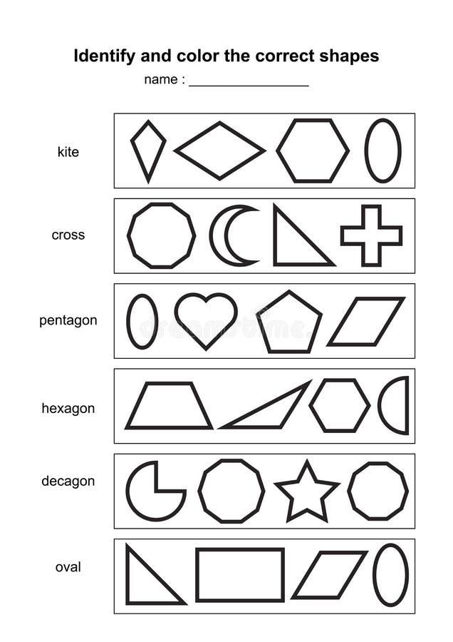 Identificeer en kleur de correcte vormen onderwijs geometrisch vormenspel voor het drukken geschikt scholingsmateriaal voor jonge royalty-vrije illustratie