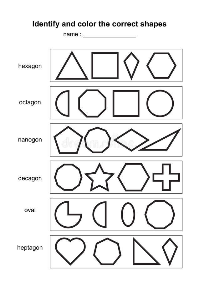 Identificeer en kleur de correcte vormen onderwijs geometrisch vormenspel voor het drukken geschikt scholingsmateriaal voor jonge vector illustratie