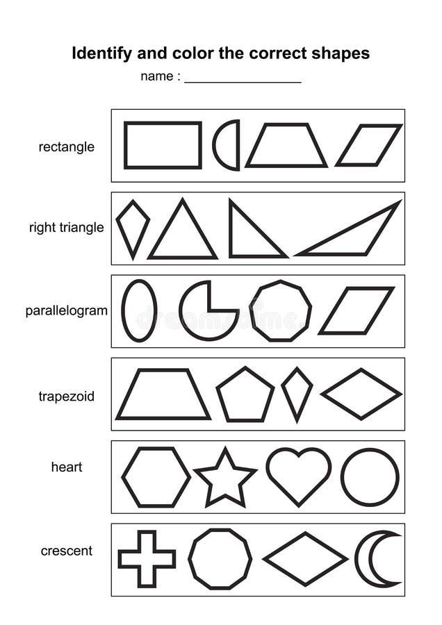 Identificeer en kleur de correcte vormen onderwijs geometrisch vormenspel voor het drukken geschikt scholingsmateriaal voor jonge stock illustratie