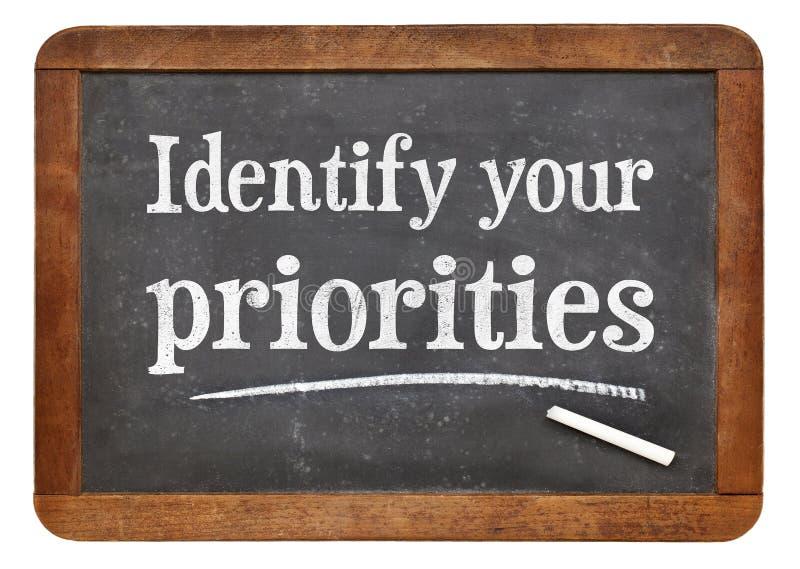 Identificeer uw prioriteiten - bordteken royalty-vrije stock fotografie