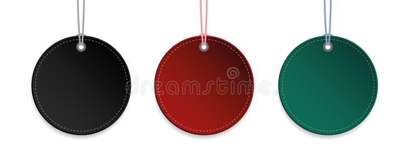 Identifichi la raccolta d'attaccatura rossa e verde nera dell'etichetta isolata illustrazione vettoriale