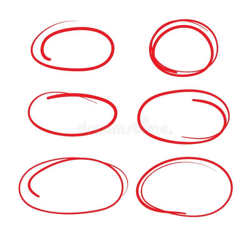 Identifier de évaluation de cercle rouge par la sensation de bruissement - marquant vers le haut des papiers illustration stock