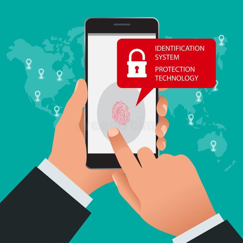 Identifiera med fingeravtryck bildläsaren, IDsystemet, skyddsteknologibegrepp Vektorillustration av mobiltelefonsäkerhet stock illustrationer